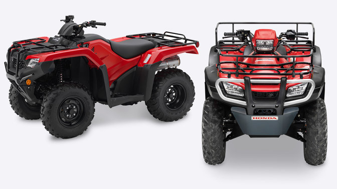Honda ATV, front view and left hand side view