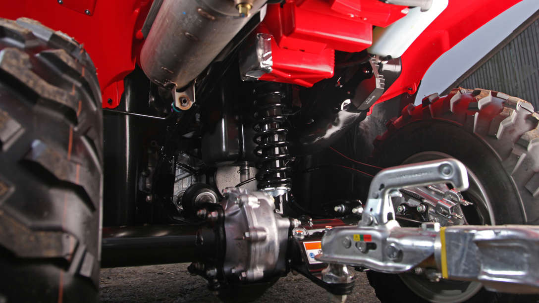 Close up of Foreman suspension.