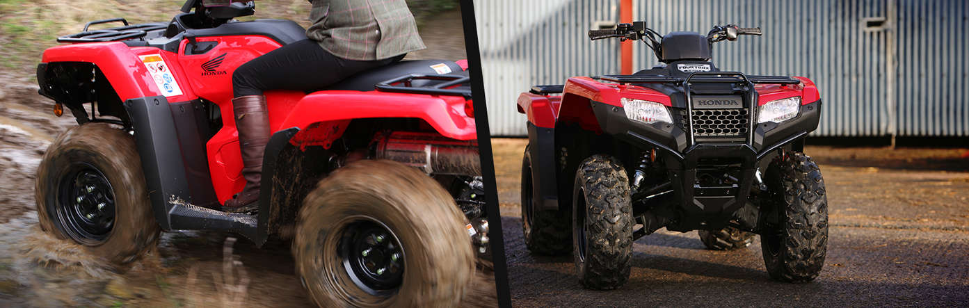 Left: Fourtrax 420 being used by model, forest location. Right: Close up of Fourtrax 420 rear.
