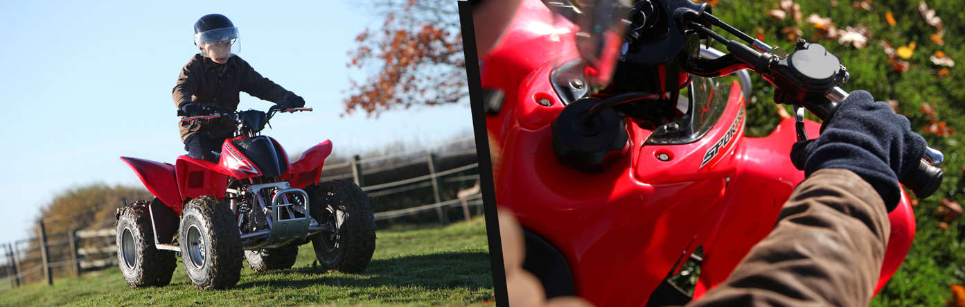 Left: Fourtrax 250 being used by model, field location. Right: Close up of handle bars.