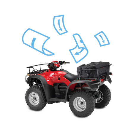 Side facing ATV with brochure illustration.