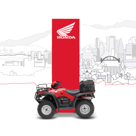 Side facing ATV with dealer illustration.