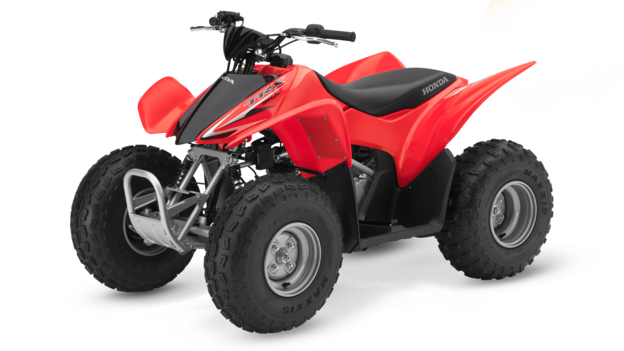 Red Honda Sportrax TRX90X Quad Bike from The Side