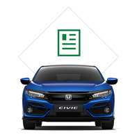 Front three-quarter facing Honda Civic 5 door with brochure illustration.