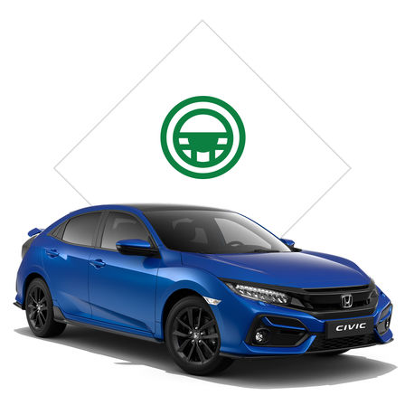Front facing Honda Civic 5 door with test drive illustration.