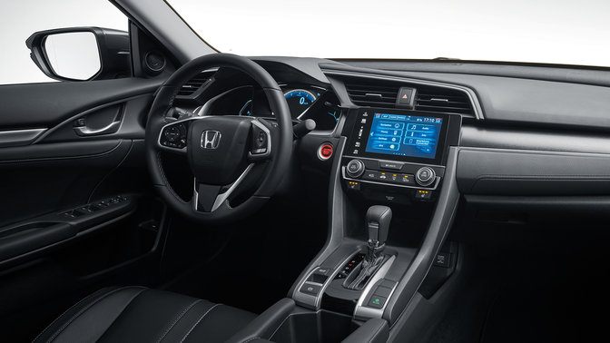 Three-quarter shot of Honda Civic 4 door interior.