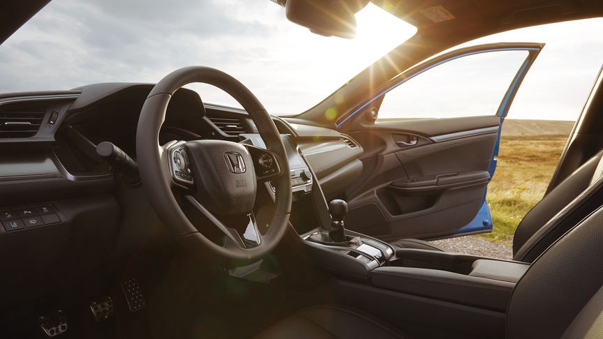 Interior shot of Honda Civic on location.