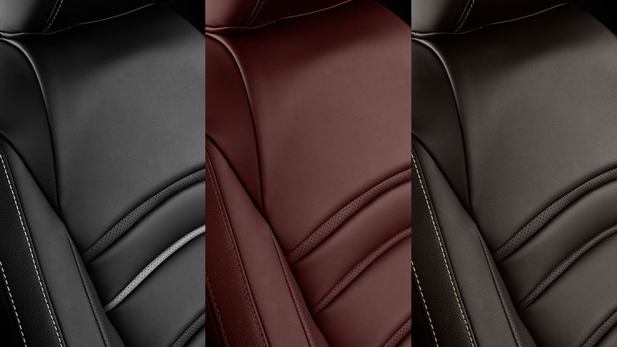 Close up of the Civic 5 door leather upholstery colour options