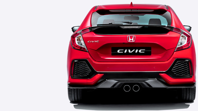 Rear facing Honda Civic.