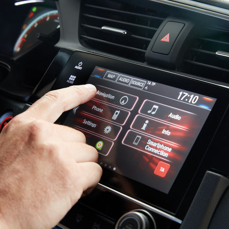 Close up of Honda CONNECT infotainment system.