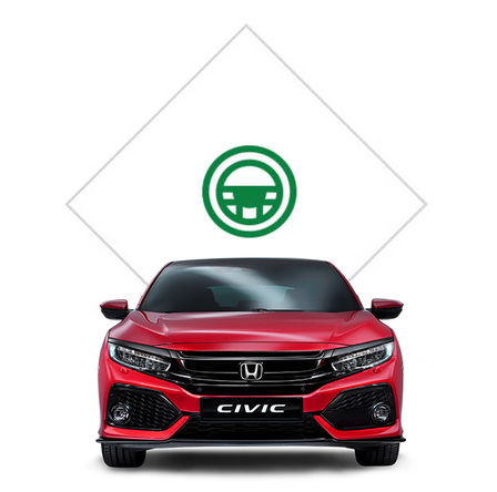 Front facing Honda Civic with test drive illustration.