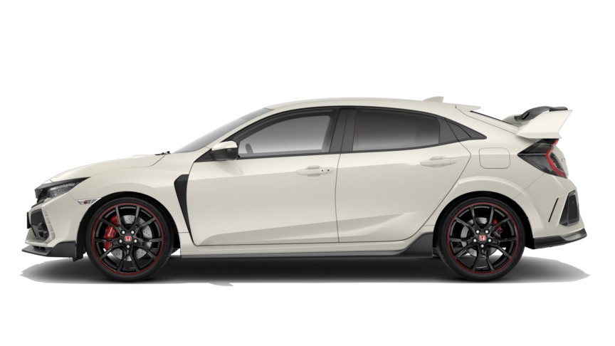 Side facing Honda Civic Type R in White Orchid Pearl.