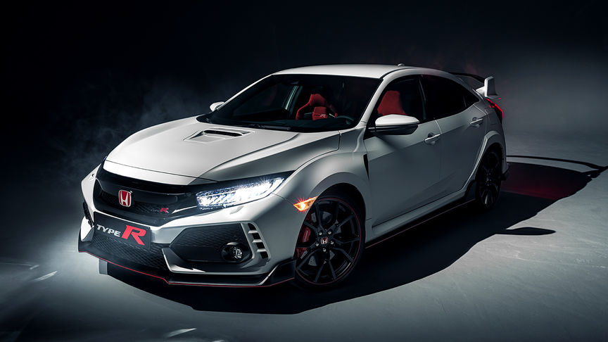 Birds-eye view of Honda Civic Type R.