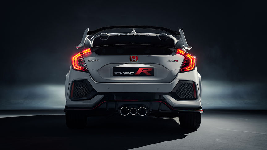 Rear facing Honda Civic Type R with suspension.