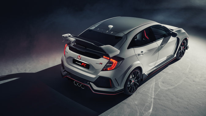 Rear three-quarter birds-eye view of Honda Civic Type R.