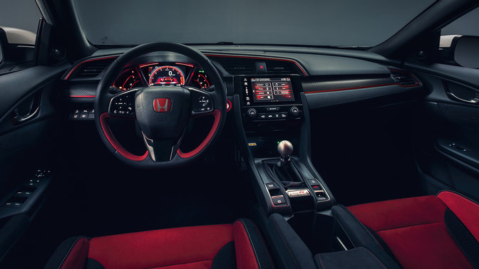 Front facing Honda Civic Type R dash and interior.
