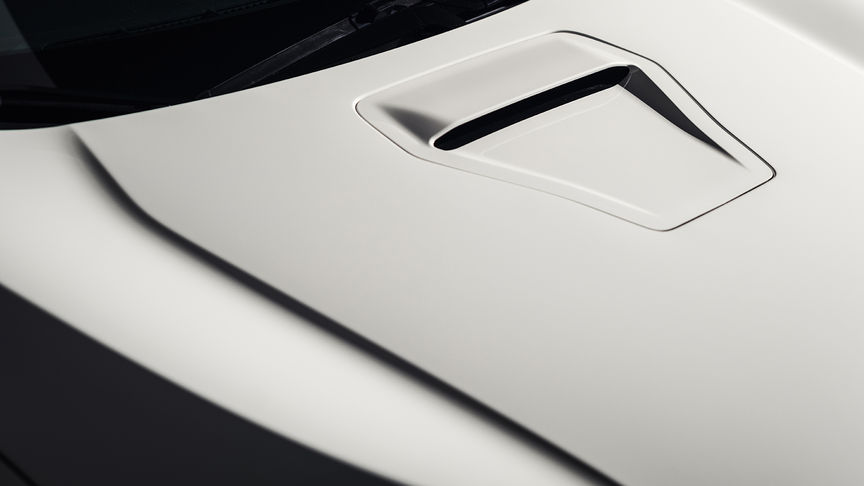 Close up of Honda Civic Type R aluminium front bonnet.