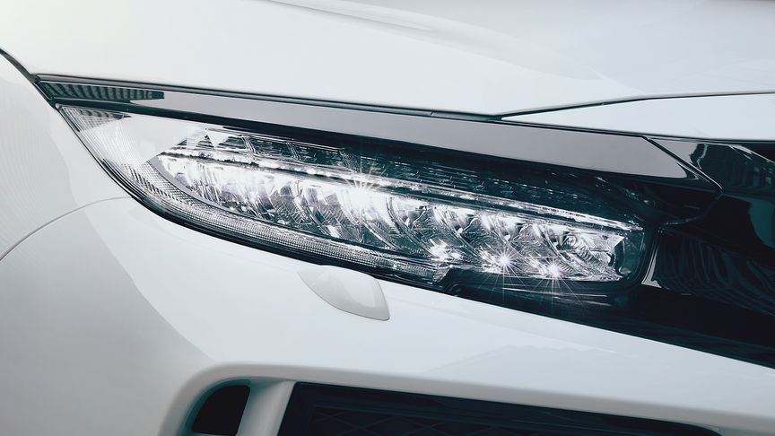 Close up of Honda Civic Type R LED headlights.