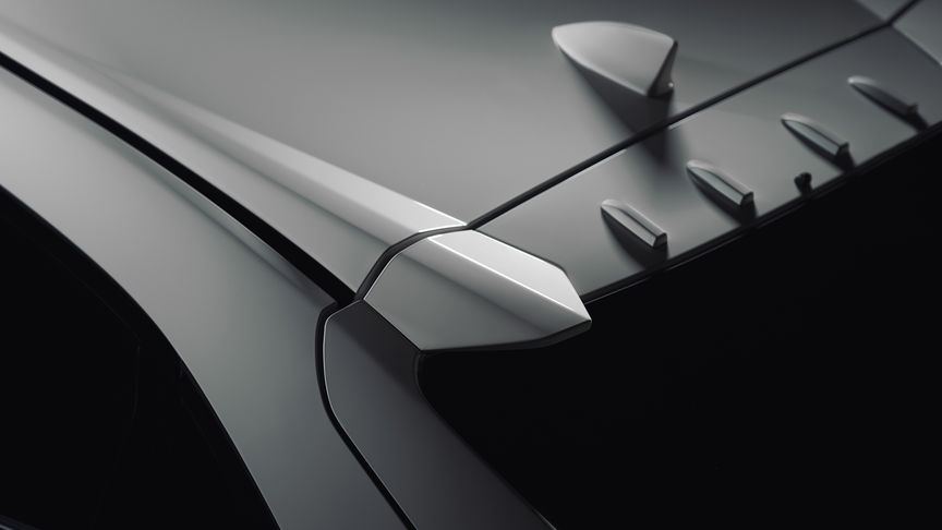 Close up of Honda Civic Type R vortex generators.