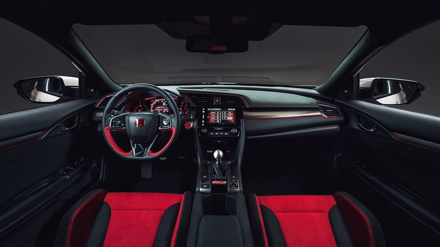 Close up of Honda Civic Type R dashboard.