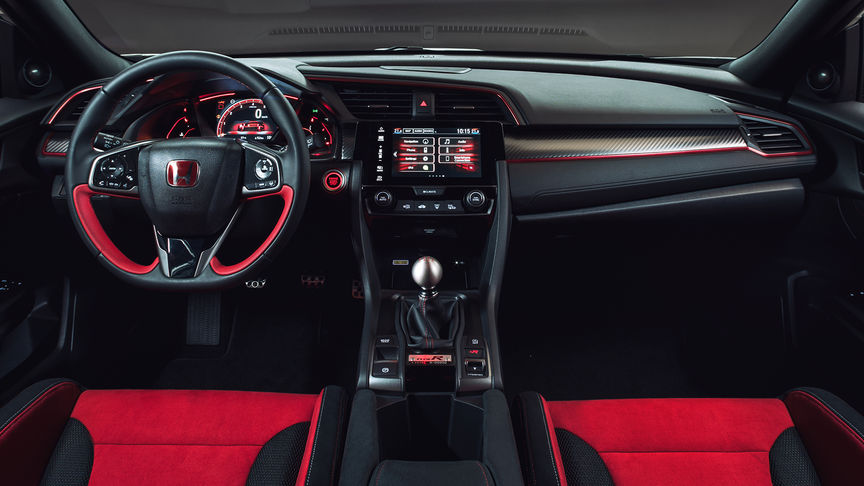 Front facing interior shot of Honda Civic Type R with the red accents.