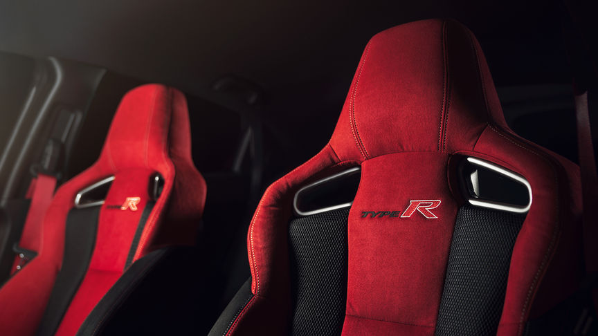 Close up of Honda Civic Type R sport seats.