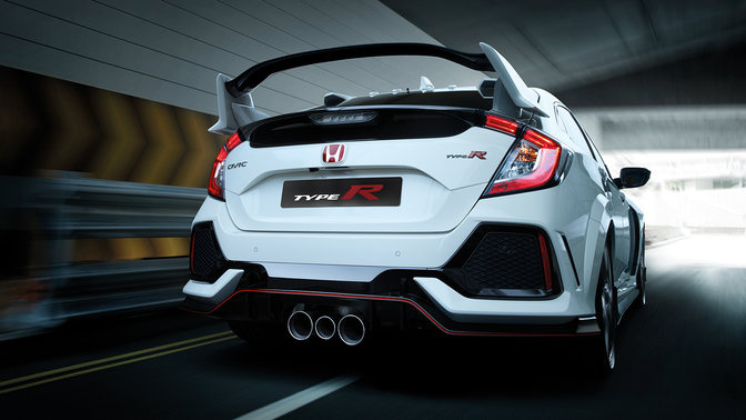 Rear three-quarter facing Honda Civic Type R in a tunnel.