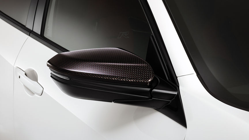 Close up of Honda Civic Type R Carbon Fibre Mirror caps.