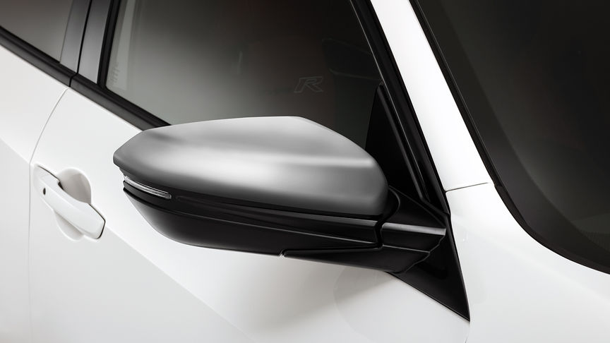Close up of Honda Civic Type R Premium Silver Mirror caps.