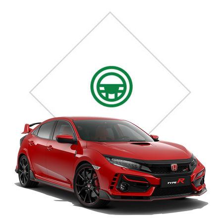 Front three-quarter left facing Honda Civic Type R with test drive illustration.