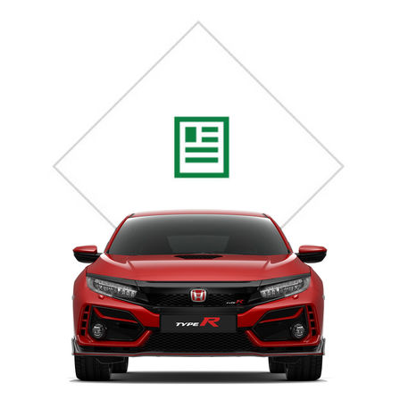 Front facing Honda Civic Type R with brochure illustration.