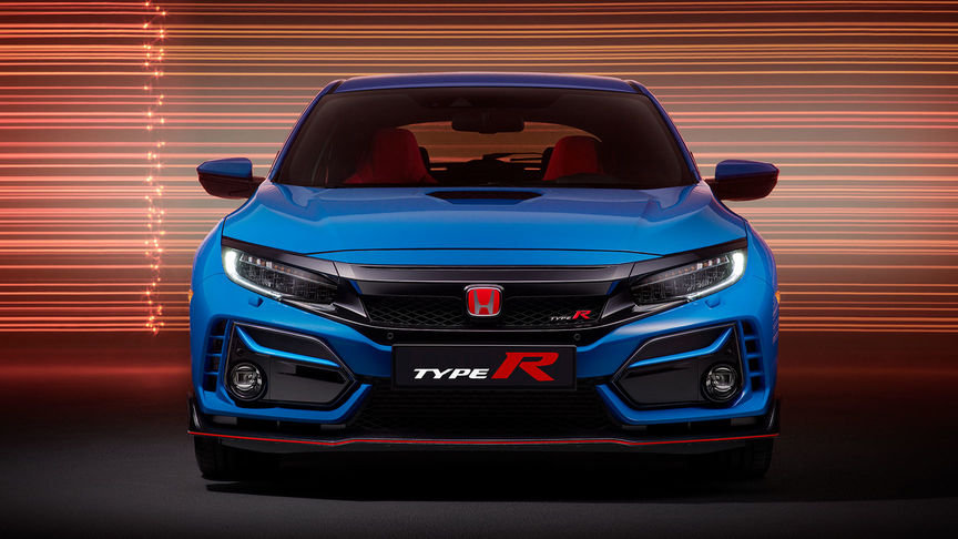 Front Facing Blue Honda Civic Type R GT