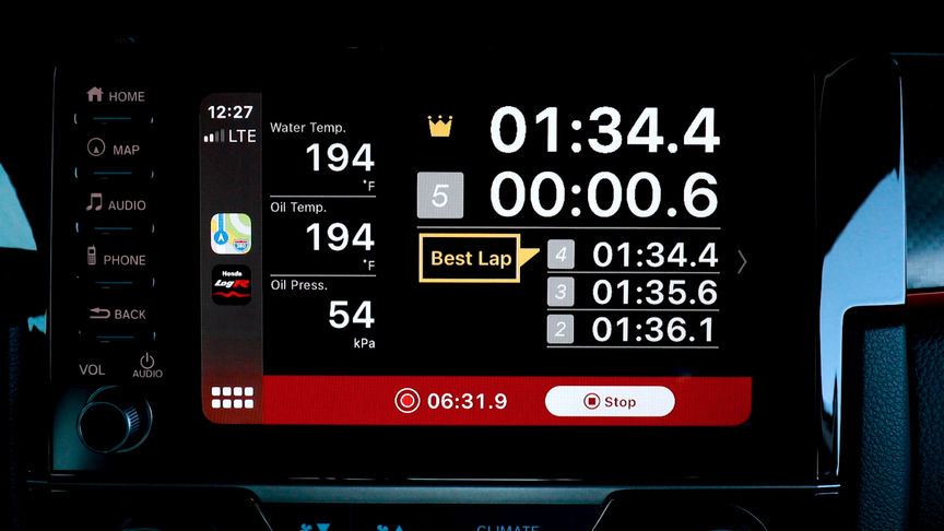 Close up of lap time display.