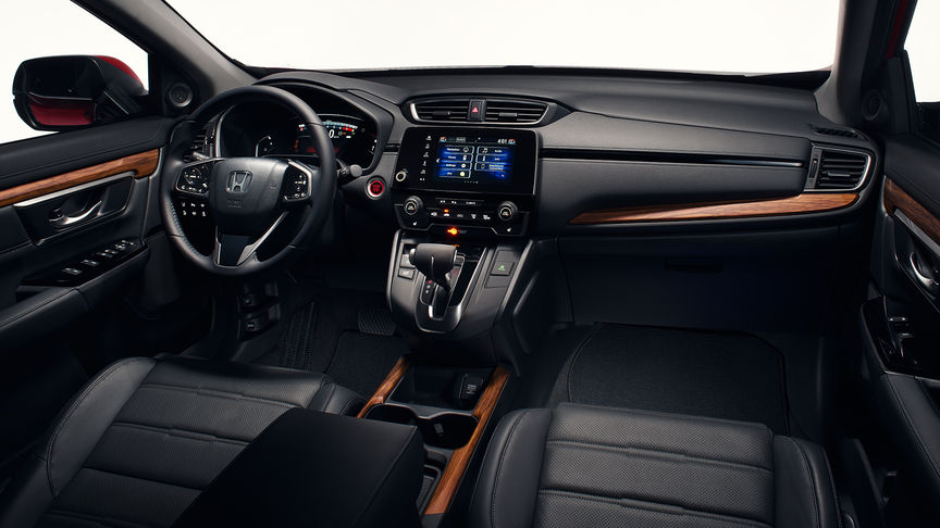 Side facing shot of the Honda CR-V interior to show A-pillars and upholstery.