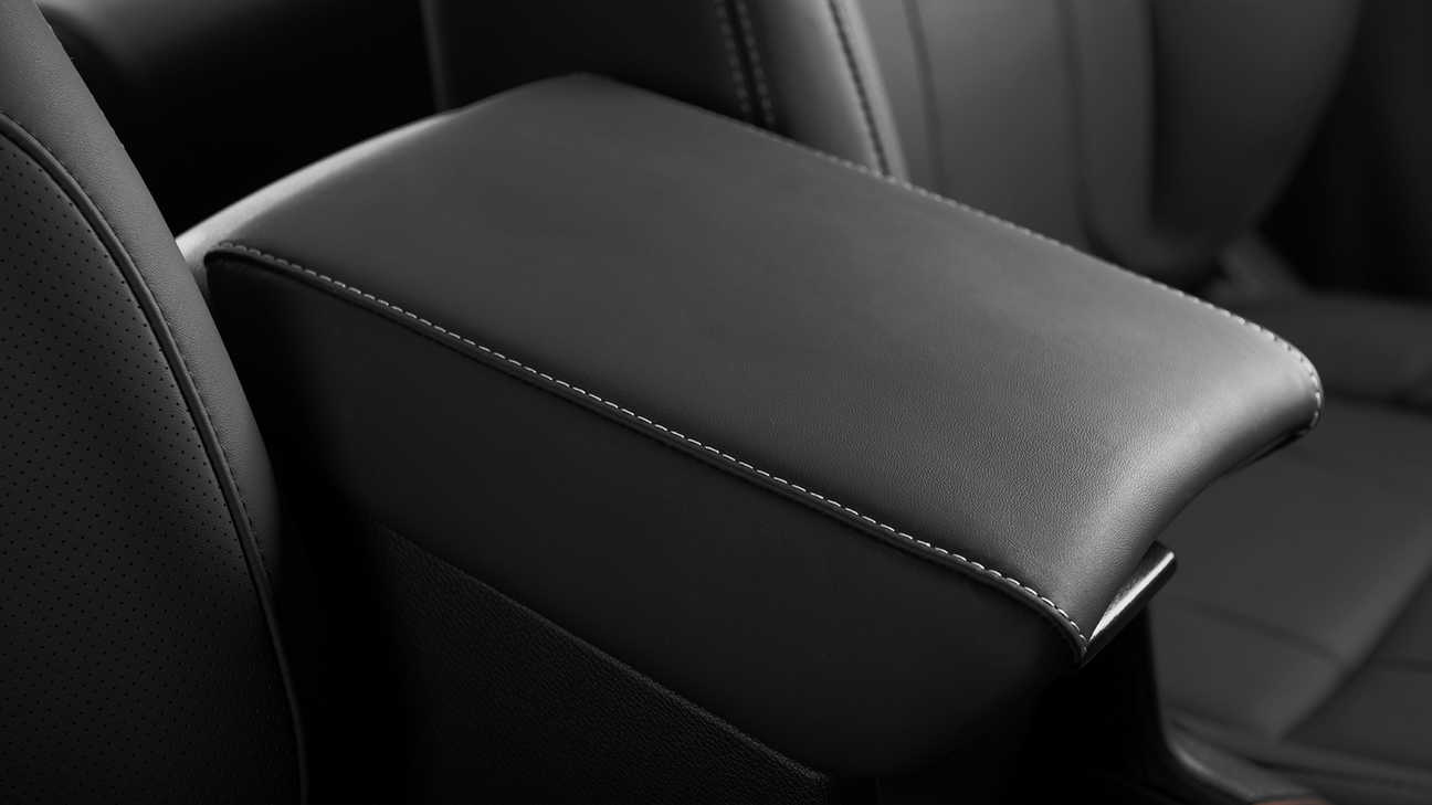 Close up of Honda CR-V interior leather upholstery.