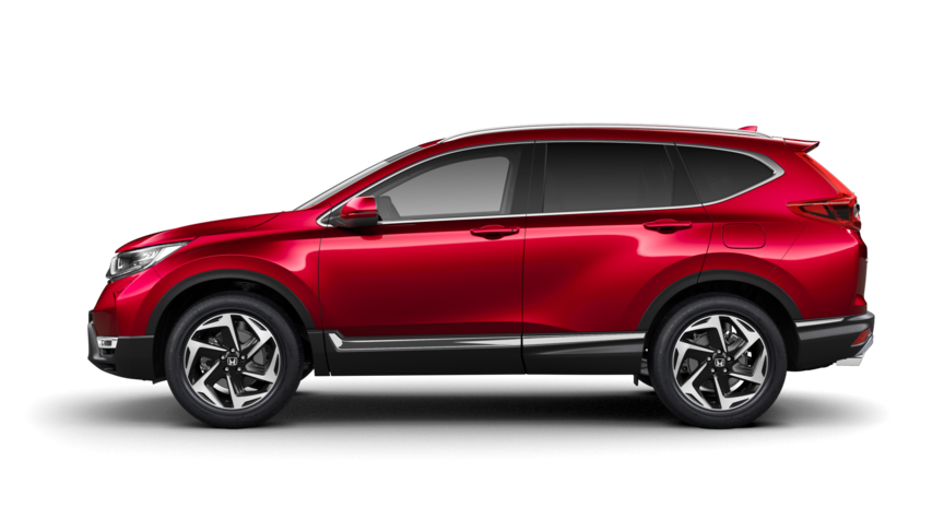 Side facing Honda CR-V in Premium Crystal Red Metallic.
