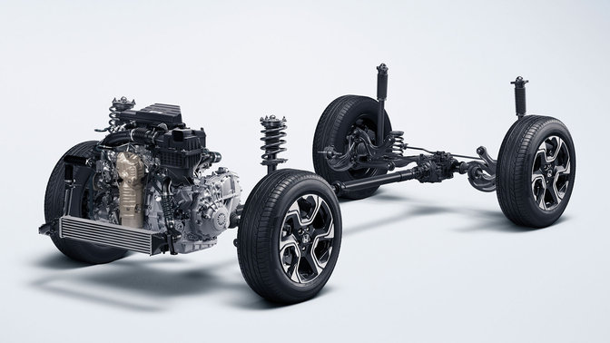 Skeleton of Honda CR-V chassis.