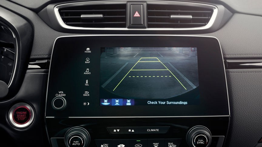 Close up of Honda CR-V reversing camera.