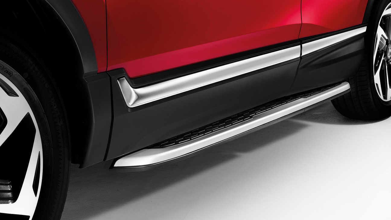 Close up view of the Honda CR-V running boards.