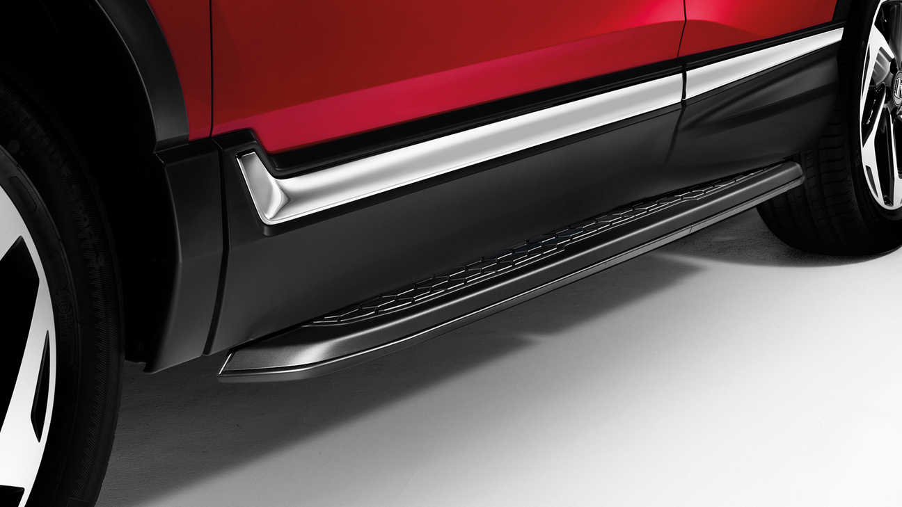 Close up view of the Honda CR-V black running boards.