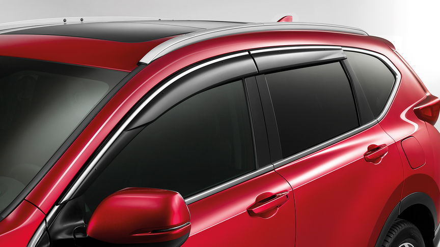 Close up side view of the Honda CR-V door visors.