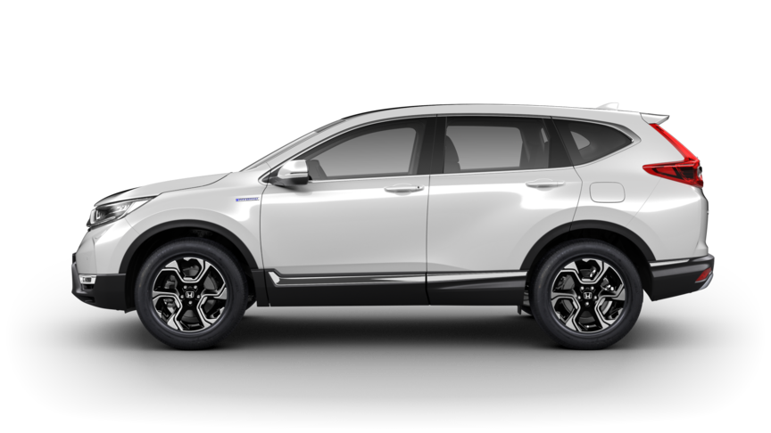 Side facing Honda CR-V in Platinum White Pearl.