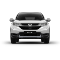 Front facing Honda CR-V Hybrid white car shot.