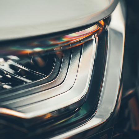 Front facing shot of Honda CR-V Hybrid headlight.