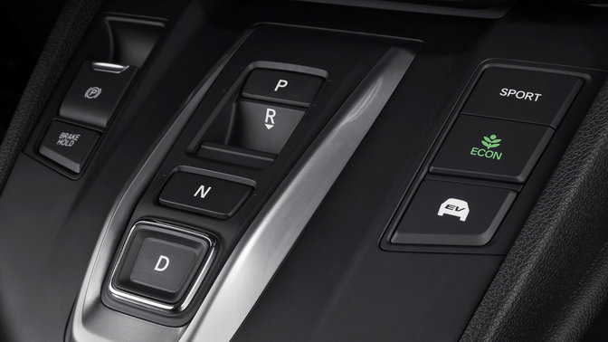 Close up or Honda CR-V Hybrid interior console.