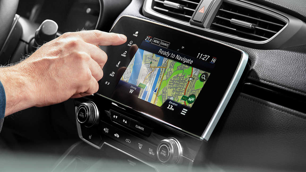 Close up of 7-Inch full colour touchscreen infotainment system