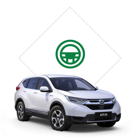 Illustration of Honda dealer with image of Jazz front view