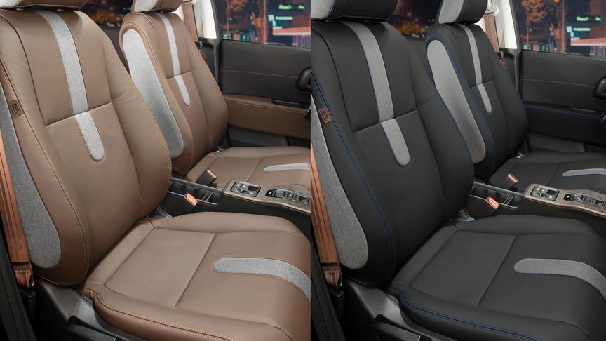 Side view of the front seats showing the two options of leather upholstery