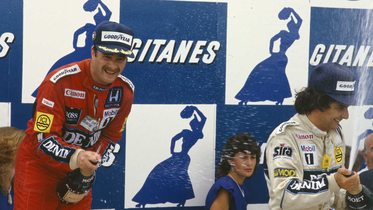 Nigel Mansell celebrating winning the Constructors' championship marking the beginning of a golden era.
