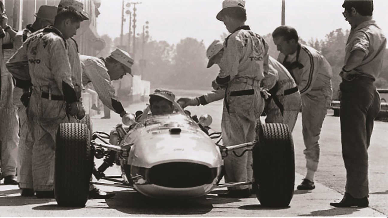 Soichiro Honda in preparation for our very first Formula 1 race in 1964 at the Hungarian Grand Prix.